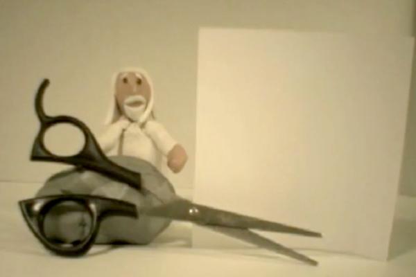 """Dios, con los primeros elementos... Captura de """"Rock Paper Scissors""""."""